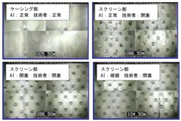 水中テレビカメラ映像の判定例
